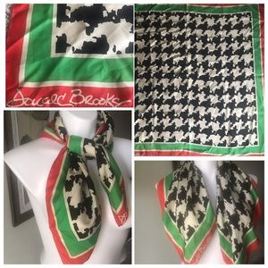 Vintage Designer Red Green Black Silk Scarf